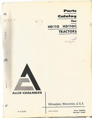 Allis Chalmers Model Hd-11 Hd-11gc Crawler Tractor Repair Parts Manual