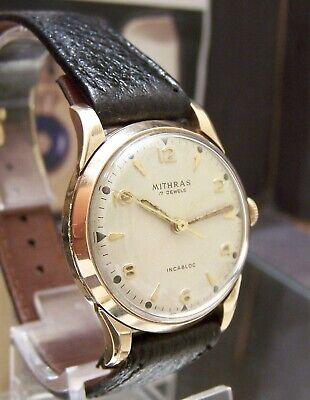 ANTIQUE VINTAGE 1955 SWISS MADE MITHRAS SOLID 9 CARAT GOLD WRIST WATCH WORKING