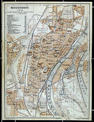 MAGDEBURG, alter farbiger Stadtplan, gedruckt ca. 1910