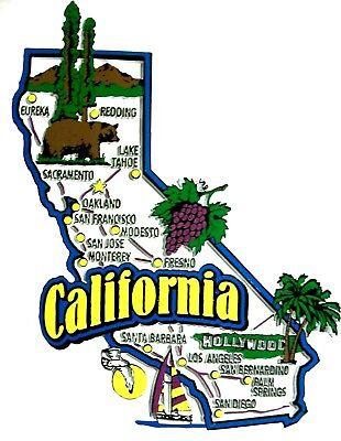 (California Jumbo State Map Fridge Magnet)