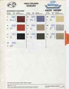1983 subaru dl, gl, glf, and brat color paint chips chart