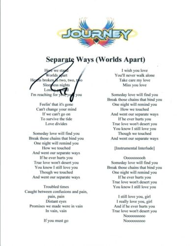 "Ross Valory Signed Autograph Journey ""Separate Ways"" Lyric Sheet COA"