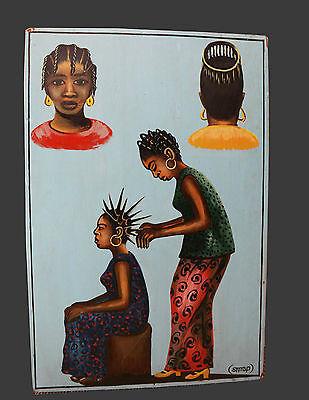 Friseurschild Afrika signiert SMAP Damenfrisuren Togo, Lomé 1977 Öl/Platte 67x45
