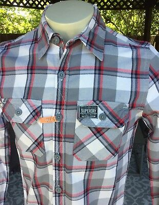 Men's Superdry Japan Plaid LS Shirt Sz M Denim Goods Grey White Red Checked