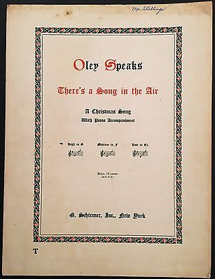 "1916 ""THERE'S A SONG IN THE AIR"" CHRISTMAS HOLIDAY SHEET MUSIC"