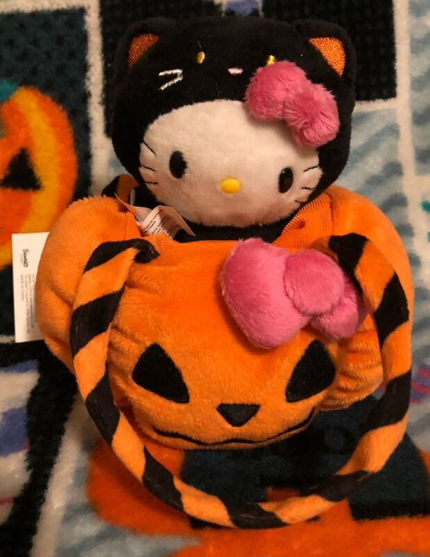 Sanrio Hello Kitty Halloween Pumpkin Jack O Lantern Black Cat Bag Plush