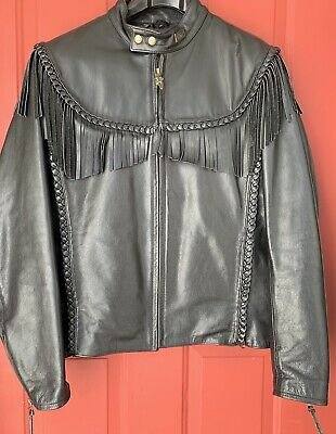 Harley Davidson Willie G Black Leather Jacket W/ Fringe, Braid, Wings Size 42 R