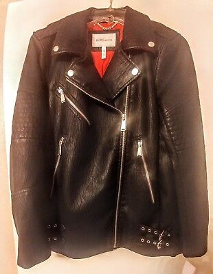 BCBG Bicker Moto Leather Jacket Coat Zippers Buckles NEW  Red Lining NWT
