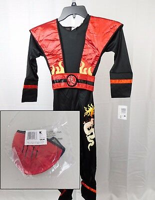 Fire Dragon Ninja Costume (Red Fire Ninja Boy's Dragon Flame Halloween Costume w/ Mask Child Medium)