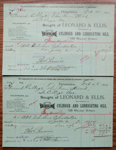 VALVOLINE CYLINDER & LUBRICATING OILS 2 1894 RECEIPTS Leonard & Ellis GIRARD COL