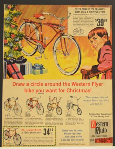 1966 Western Auto Bicycle Print Ad Sleet Sonic Flyer Coventry Buzz Hi Lo Galazy