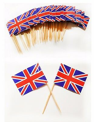 50 Union Jack Sticks British Flag Party Sandwich Food Cup Cake Cocktail Picks