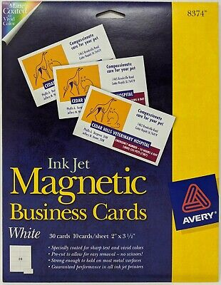 Ink Jet Magnetic Business Cards Avery 8374 White 30 Cards 2 X 3 12
