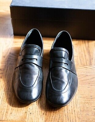 Prada Men's Black Retro Antique Leather Loafers Shoes Black 9.5 US 42.5