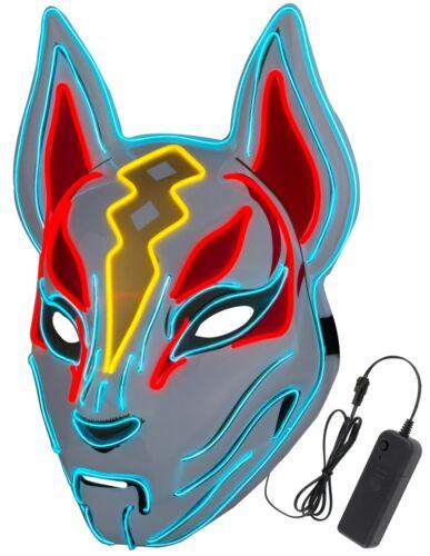 Unisex Fortnite Fox Drift Mask LED Light up Mask Halloween Cosplay Party Props