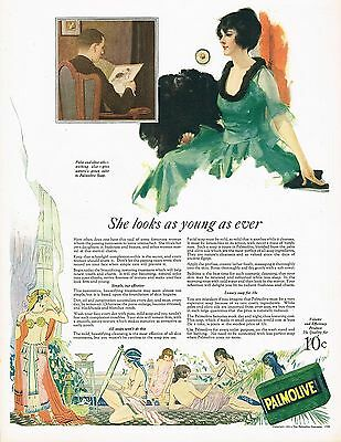 1920's BIG Vintage Palmolive Soap Co. Egyptian Theme/ Pretty Lady Art Print Ad