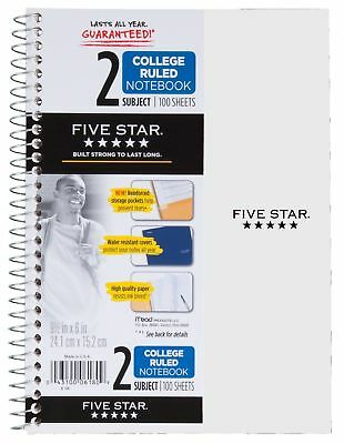 Five Star Spiral Notebook 2 Subject College Ruled Paper 100 Sheets 9-12...