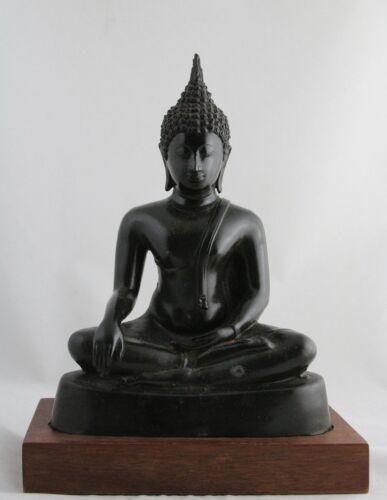 antique bronze seated Ayuthia Buddha statue, Ayutthaya Sattvasana 30cm/11.8inch