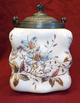 Old Antique WAVECREST Floral BISCUIT CRACKER JAR w/ Lid & Twisted Handle