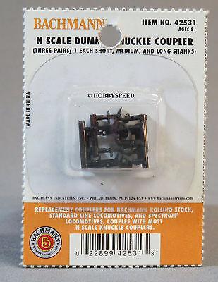 BACHMANN N SCALE DUMMY KNUCKLE COUPLERS 3 PR 3 SIZES connectors train BAC 42531