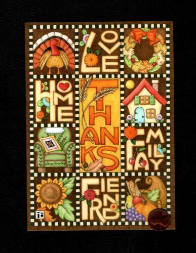 Thanksgiving MARY ENGELBREIT Patchwork Turkey Wreath Greeting Card W/ TRACKING