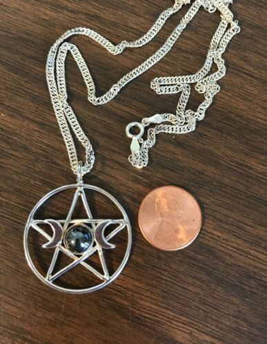 """Sterling Silver Pentacle - Triple Goddess Symbol - Hematite Stone on a 20"""" Chain"""