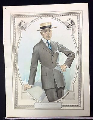 1900s MALE CLOTHING FASHION SALESMAN SAMPLE PRINT ON DOUBLE  WEIGHT PAPER #a6