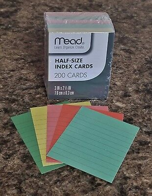 Mead - Half-size Ruled Colored Index Cards - 200 Pack - 2.5 X 3 - Great Notes