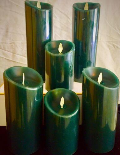 Original Luminara flameless flickering candles with remote in Dark Green