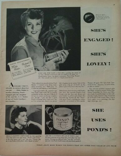 1944 Pond s Cold Cream Engaged Woman War Worker Drill Tool Vintage Ad - $9.99