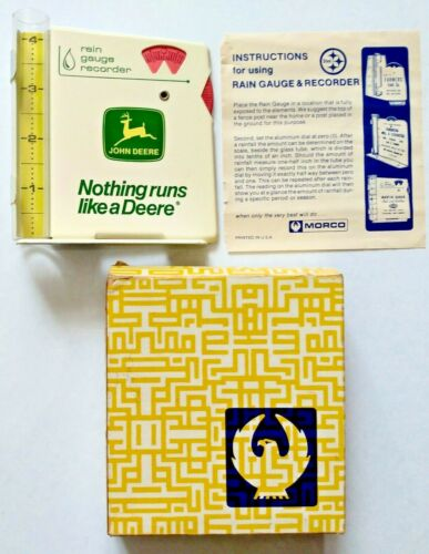 Vintage 1970's John Deere Rain Gauge Sign In Original Box w/ Instruction Sheet!