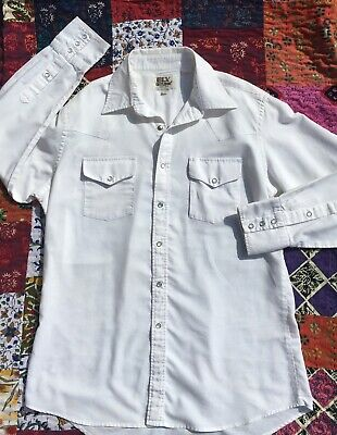 Eli Cattleman Men Western button up -Pearl snap size 16 1/2 -34 Vintage (Ups Drop Points)