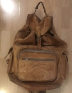 Tooled leather backpack - vintage