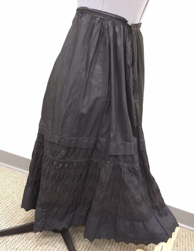 Vintage Antique Victorian Edwardian Black Silk Cotton Mourning Skirt Slip