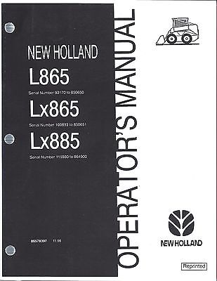 New Holland L865 Lx865 Lx885 Skid Loader Operators Manual 86578397