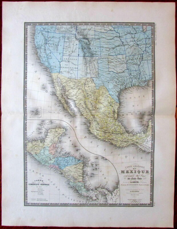 North America Western AZ ID UT WY Territories Texas CA 1875 Brue large old map