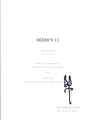 Brad Pitt Signed Autographed OCEAN'S ELEVEN Full Movie Script COA VD