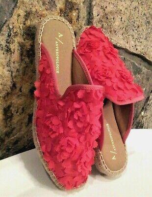 Anthropologie Women Shoes Espadrilles Mules Pink Floral 38 European Spain New