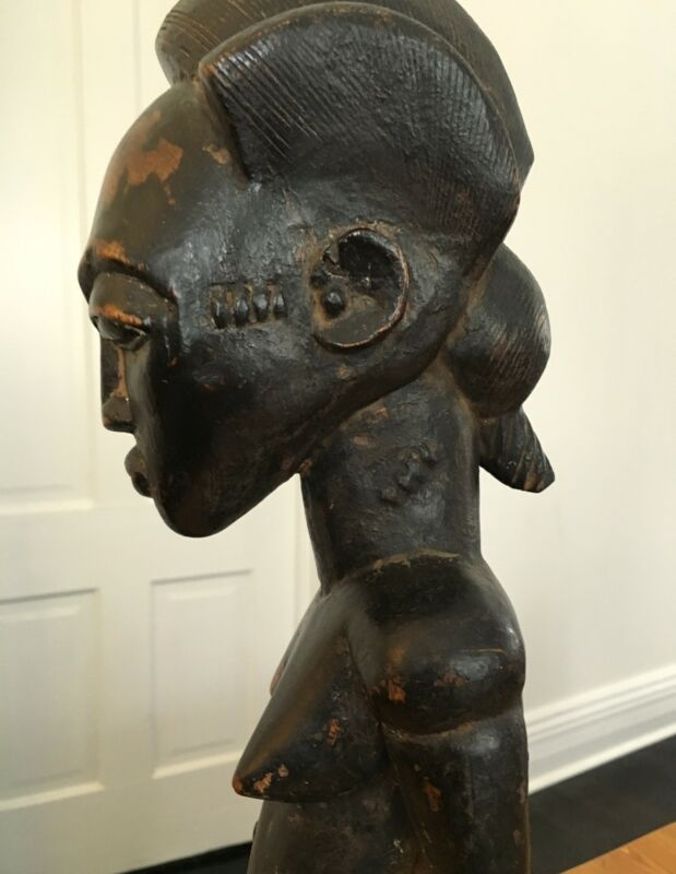 African Art Baule Wood Carved Statue Spirit Sculpture Asye Usu Stool Africa