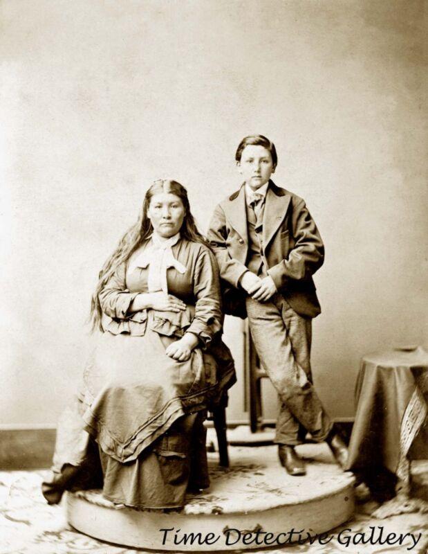 "Modoc Indian Woman ""Winema"" and Son, California - 1873 - Historic Photo Print"