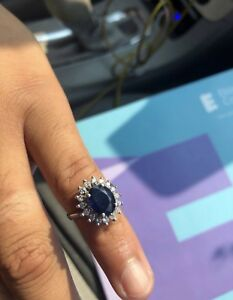Engagement sapphire and diamond ring