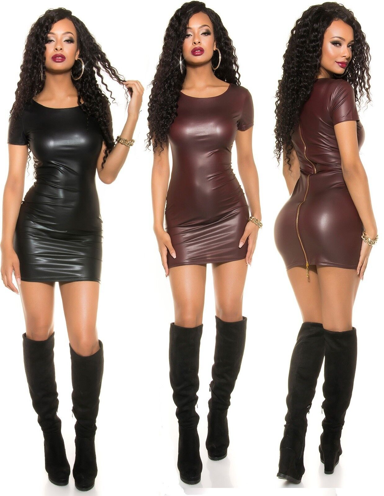 Koucla Kleid Wetlook Lederlook Minikleid mit 2Way Zip
