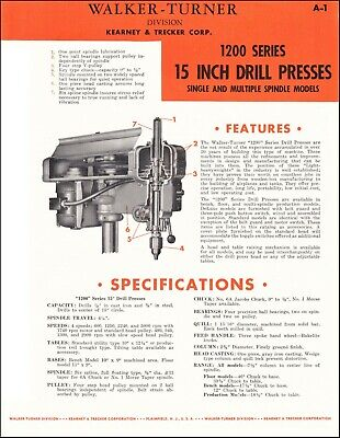 Walker Turner 1200 Series 15 Inch Drill Presses - Product Spec Sheet