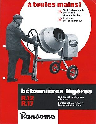Equipment Brochure - Ransome R12 R17 Betonniere Cement Mixer French Lang E4472