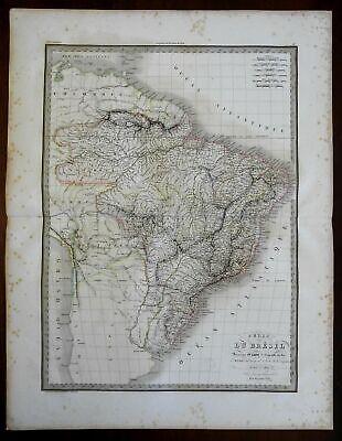 Brazil South America Amazon River Rio de la Plata 1829 Lapie large folio map