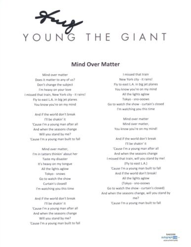 Sameer Gadhia Signed Young The Giant Mind Over Matter Song Lyric Sheet ACOA COA