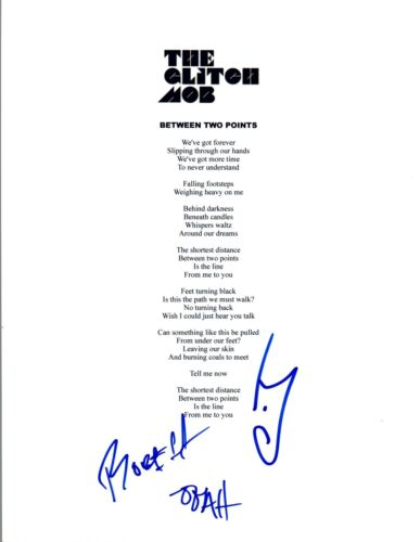 "The Glitch Mob Signed Autographed ""Between Two Points"" Lyric Sheet COA VD"