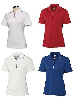 CUTTER & BUCK Womens Ladies Golf CB DryTec TIPPED Polo Shirt NWT many colors