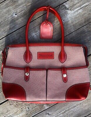 Red Dooney & Bourke Leather & Jacquard Satchel Bag Handbag Purse Excellent Shape