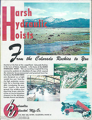 Equipment Brochure - Harsh Hydraulic Hoist - Dump Trucks Trailers C1957 E2779